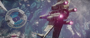 X Wing heading toward the sheild gate