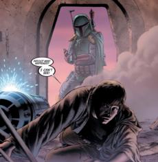 Boba Fett attacks Luke Skywalker