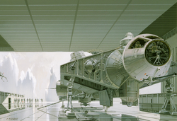 Ralph McQuarrie art of captive Falcon on Imperial capital planet of Alderaan