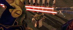 Yoda gebruikt de Force op Ventress