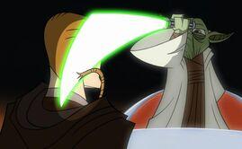 Yoda makes Anakin a Jedi Knight