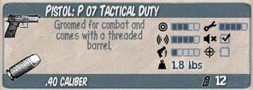 P 07 Tactical Duty