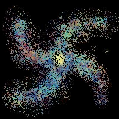 Yugo SAc 4-Armed Spiral Dwarf Galaxy Stars