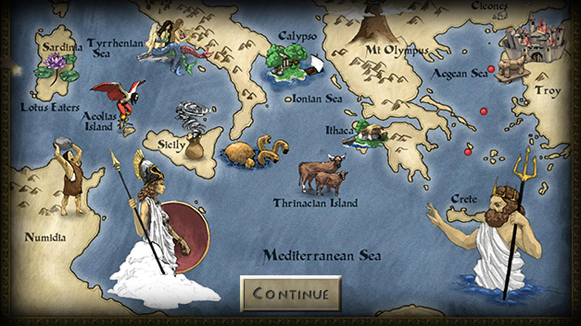 map of the odyssey