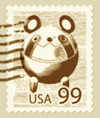 Sepia version of the postage stamp on the letter from Kurisu to Okabe in the Official After Story