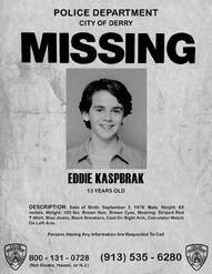 Eddie Kaspbrak Missing Poster