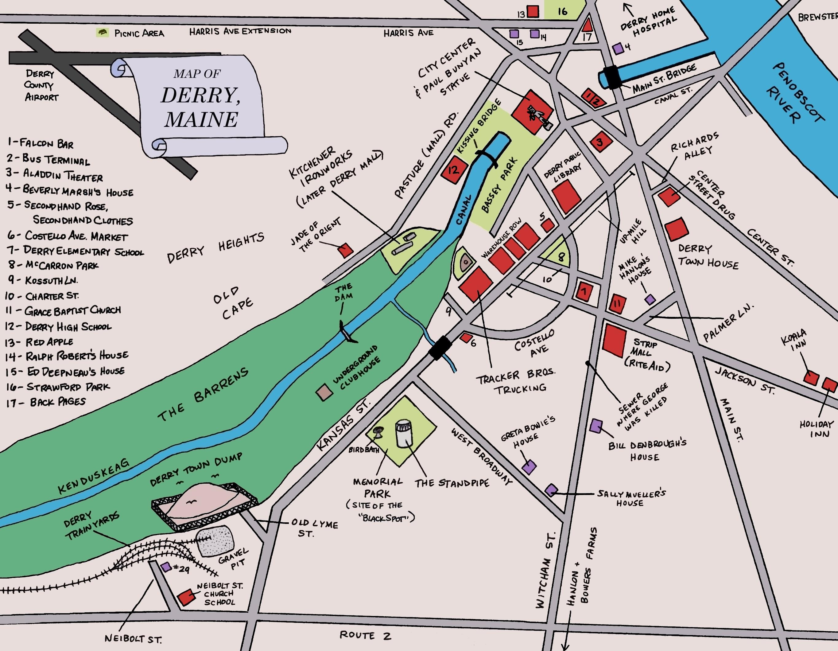 Image   Map of Derry. | Stephen King Wiki | FANDOM powered by Wikia