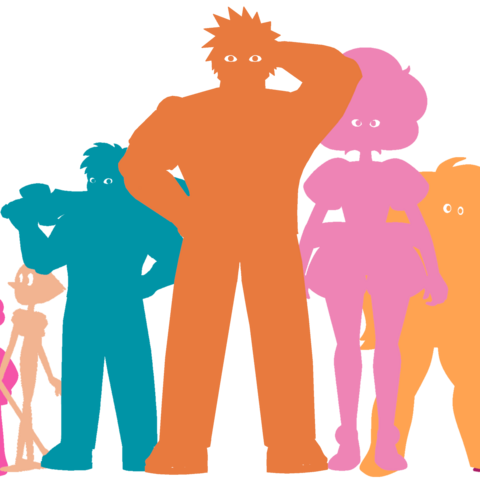 Сравнение размеров Василия с главными персонажами сериала (слева направо: Стивен из SU, Стивен из SUF, Жемчуг, Элай («Атакующий»), Василий, Розовый Алмаз, Яшма, Гранат)
