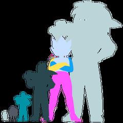 Сравнение размеров основных форм Элая 2 (слева направо: Белый Алмаз, Обсидиан, «Превосходящий» Элай, «Всесильный» Элай, Робот-трансформер Алмазов, «Абсолютный» Элай)