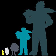 Сравнение размеров основных форм Элая 1 (слева направо: Жёлтый Алмаз, Белый Алмаз, Обсидиан, «Превосходящий» Элай, «Всесильный» Элай)