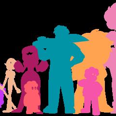 Сравнение размеров Элая с главными персонажами сериала (слева направо: Аметист, Жемчуг, Гранат, Стивен (ребёнок), Элай («Атакующий»), Стивен (подросток), Яшма, Розовый Алмаз)
