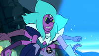 Alexandrite holds Steven as Blue Diamond's aura is about to pass over her.