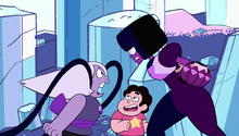 Amethyst, dressed as Pearl, yells at an angry Garnet, while Steven looks on.