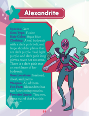 A page lists Alexandrite's species, gem type, hair color, clothing, gem location, weapon, fun fact, and favorite quote on the left, with an image of her debut design on the right.