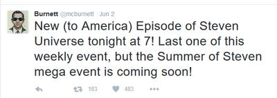 Matt Burnett Summer of Steven Tweet
