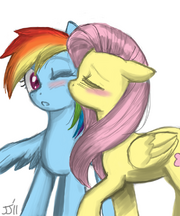 76029 - Flutterdash artist john joseco cute fluttershy kissing rainbow dash shipping
