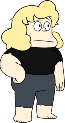 Sadie in black shirt and no shoes