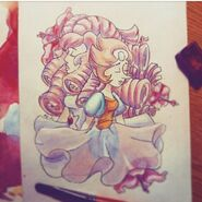 Rose quartz and pearl by PieFi
