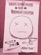 Last One Out of Beach City - Arte promocional de Hilary Florido e Lauren Zuke
