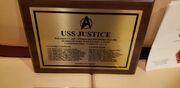 USS Justice plaque
