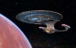 USS Ross in orbit