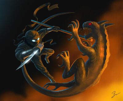 Ninja vs crawler by job-d59qhy3