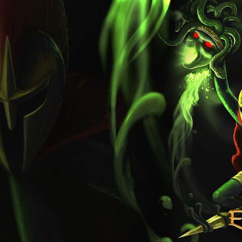 Medusa Defeated Official Artwork.