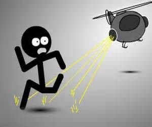 Stickman Sam running away from a flying saucer