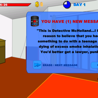 The message received from Detective McHolland after killing Skater Punk.