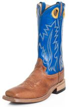 Old-west-mens-13-square-toe-leather-cowboy-boots-blue-brown-114826