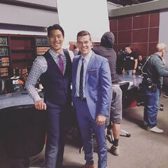 Preston Jones and Tim Chiou on set of episode 7