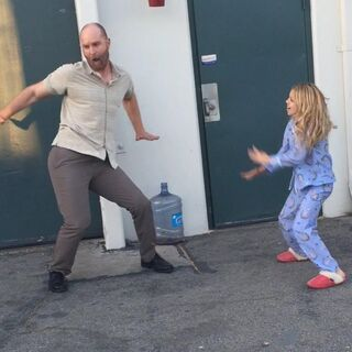 Kaylee giving Hugo a dance lesson BTS season 1 of Stitchers