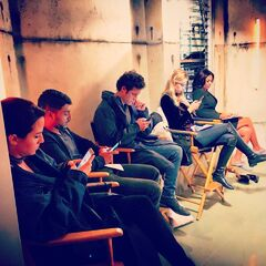 The cast bts during Season 2