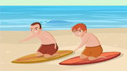 "S1 E9 Lo teaches them to surf ""OK, paddle, paddle"""