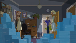 "S1 E11 Fin says nervously ""Housekeeping"""