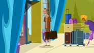 S1 E6 George and Grommet run into Mr Stanley Stevens while running the luggage inside