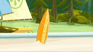 S2 E7 Broseph points to his board on the beach