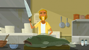 S2 E7 The Kahuna tells the audience step one is to chop the fish