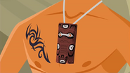 S1 E9 Reef wears the totem around his neck