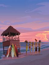 Beach+hut+sunset