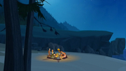S1 E6 Groms and Stanley Stevens having camp fire on beach