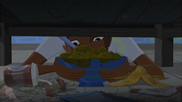 S1 E11 Johnny pulls out from under Broseph's bed some moldy cereal