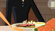 S1 E6 Lo hands Seymour Stevens his main course meal