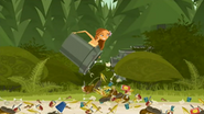 S2 E6 Lo dumps the rubbish out of the bins and onto the beach