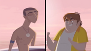 S1 E15 Lance makes a kissing face at Snack Shack