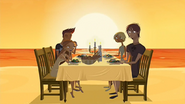 S2 E1 Curtis Fin Lo and Reef having dinner on the beach