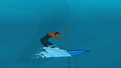 S1 E11 Johnny tries to remain on his surfboard