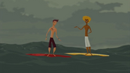 S1 E6 Broseph and Reef trying to be the first at riding the big wave