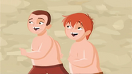 """S1 E9 Mark and Todd run towards the pool yelling """"Cannon ball!"""""""