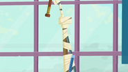 S1 E6 Fin and Rosie reach the ceiling using many items taped together to form a long pole